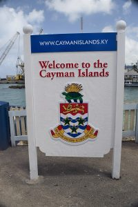 Welcome to the Cayman Islands sign at port in Grand Cayman, Cayman Islands