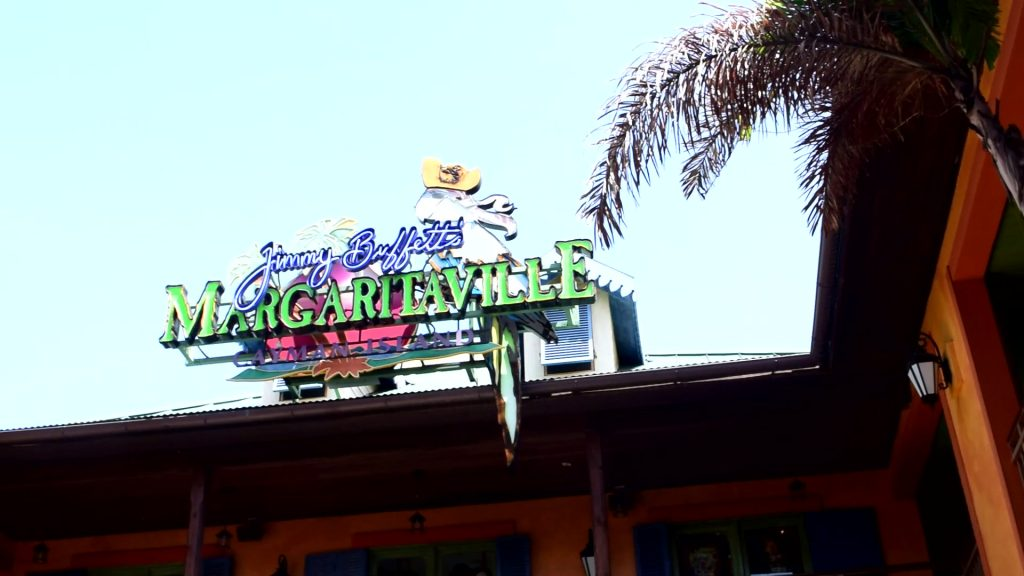 Island Plaza Jimmy Buffet's Margaritaville sign Grand Cayman