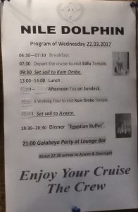 The Nile Dolphin Cruise Wednesday Itinerary for all guest onboard.