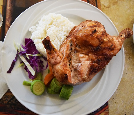 Chicken, rice, and vegetable Dinner at Al Khan Restaurant in Cairo