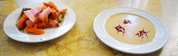 Egyptian Dish Turshi with Hot Pickled Carrots with Tahini Sauce. Food from Al Khan Restaurant & Café in Cairo, Egypt