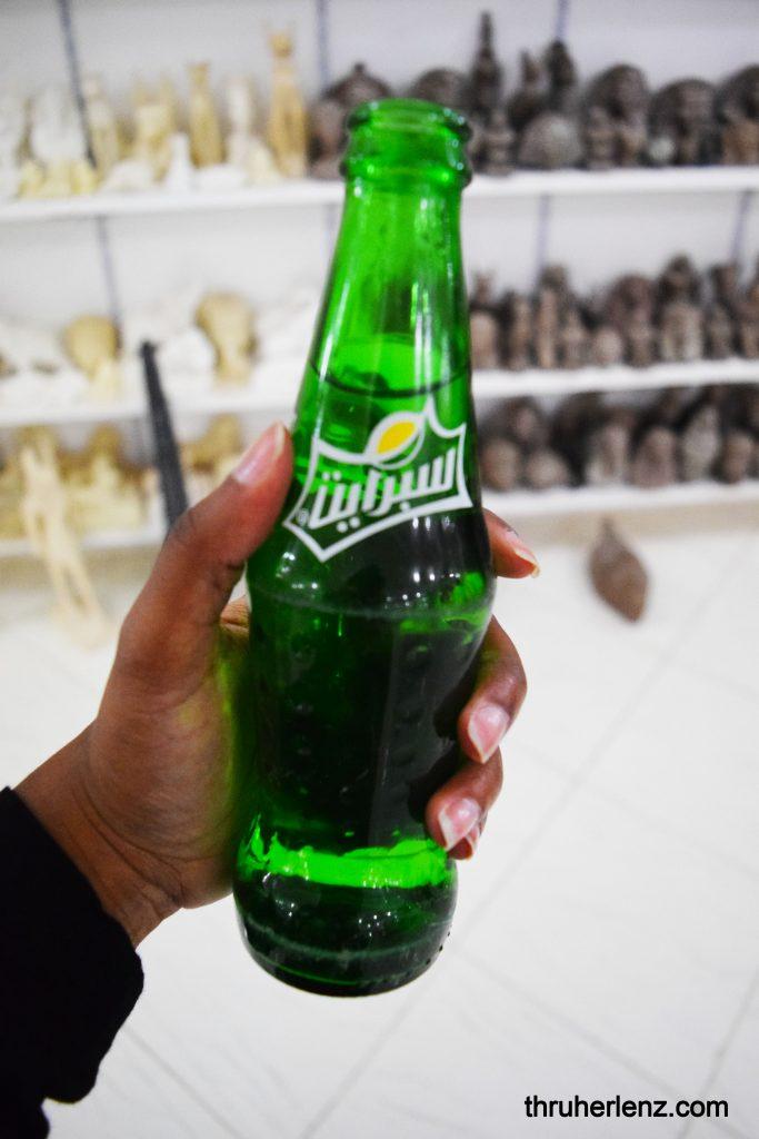 Sprite soda with labels written in Arabic
