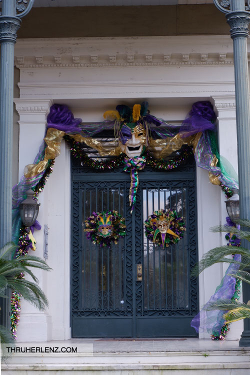 Garden District Home entrance decorated for Mardi Gras