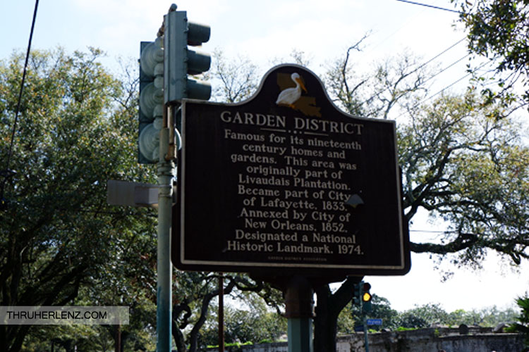 Garden District New Orleans sign describing the details of the neighborhood.