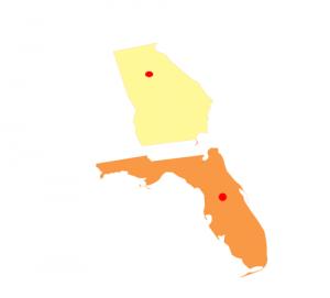 Atlanta,Georgia and Orlando,Florida on State map