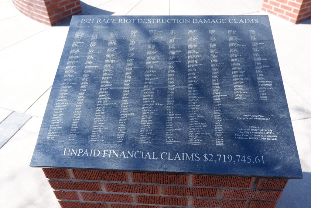 Black Wall Street unpaid Damages unpaid financial claims made by families of the survivors. Amount of $2,719,745.61