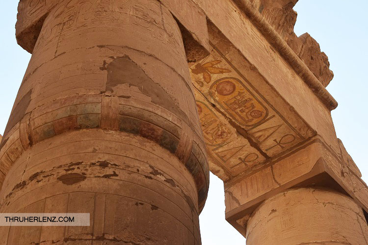 Amun Re Karnak Temple view of colors and original Hieroglyphics.