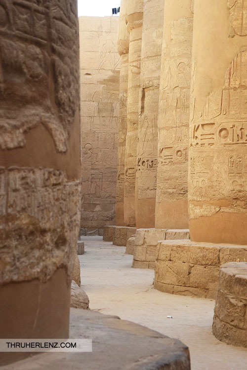 Pillars filled with Hieroglyphics in the Karnak Temple