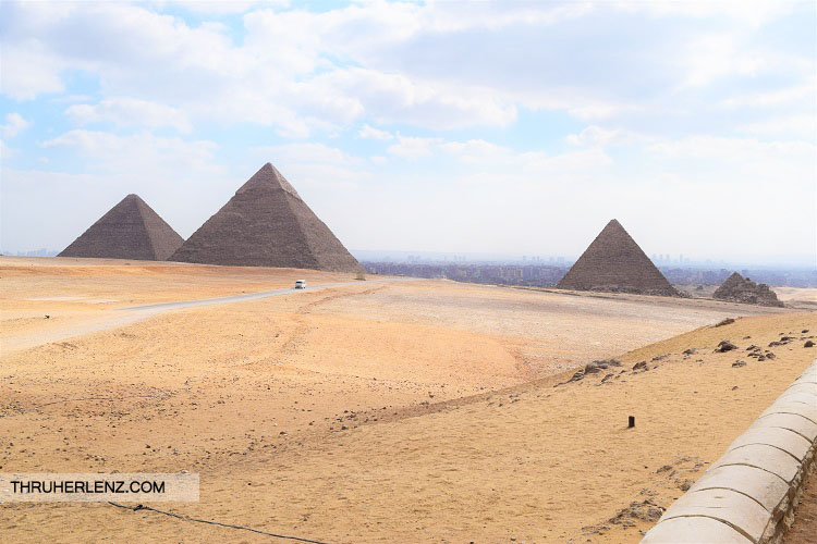 View of the three Great Pyramids of Giza in Cairo