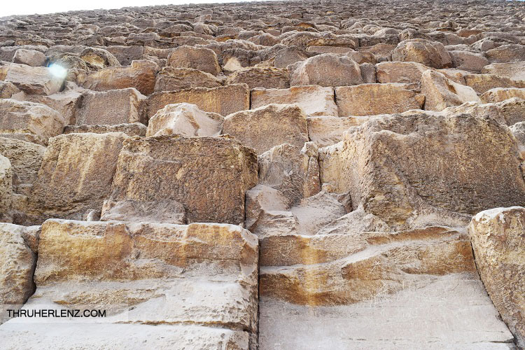 Up close to the Great Pyramids in Cairo, Egypt.