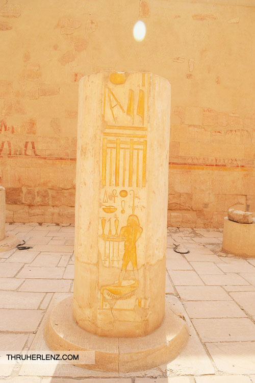 Mortuary Temple of Hatshepsut Pillar with carving.