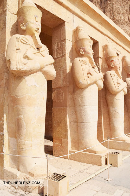 Mortuary Temple of Hatshepsut. Standing guard as you enter the Temple.