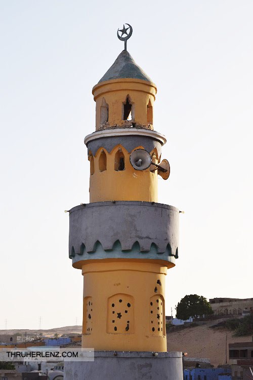 "Nubian Village Mosque. The loudspeakers are for the adhan (""call to prayer"") The muezzin's voice transcends through the village."