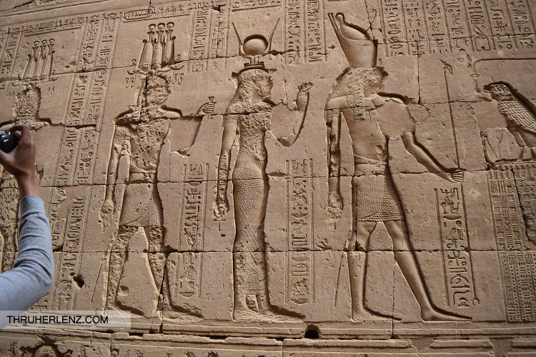 Carvings on the wall. Temple of Edfu.