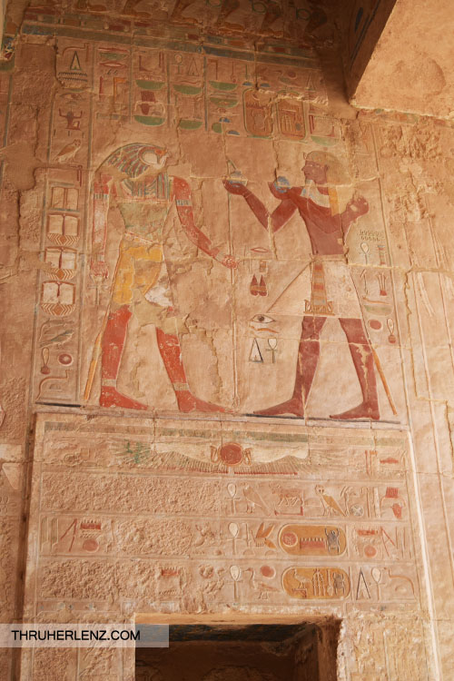 History painted on the walls of the Egypt Mortuary Temple of Hatshepsut.