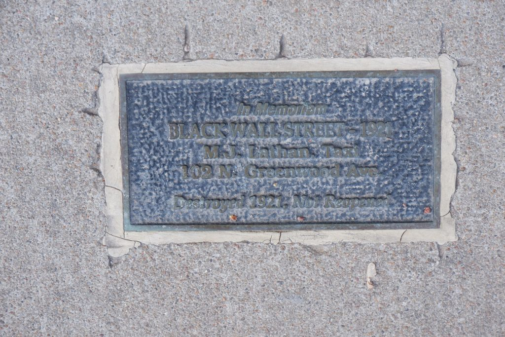 In Memoriam. Black Wall Street. 1921. M.J. Lathan Tax. 102 N. Greenwood Ave. Destroyed 1921, Not reopened.