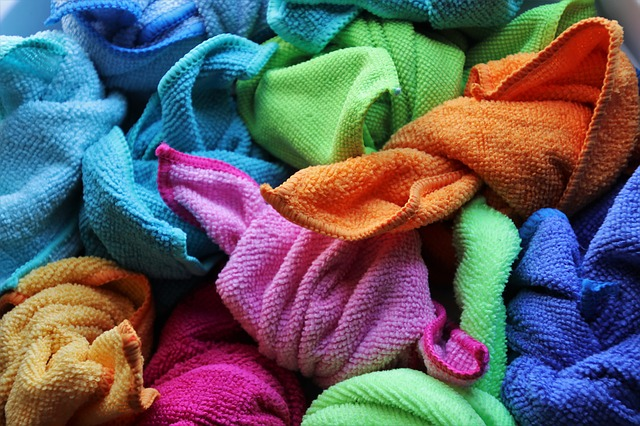 Pile of multi-color hand towels